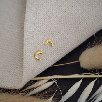 Gold-Plated Moon Studs