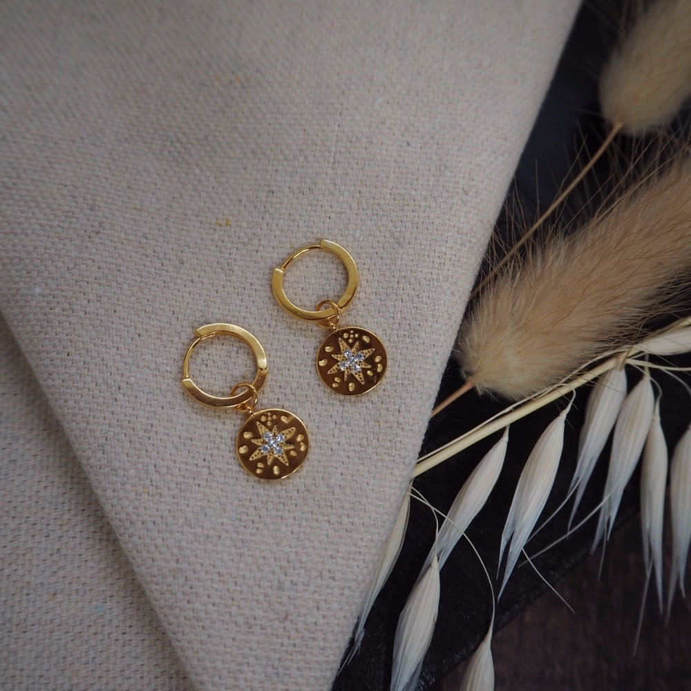 Gold Plated North Star Hoops