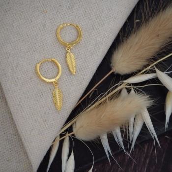 Gold Plated Feather Hoops
