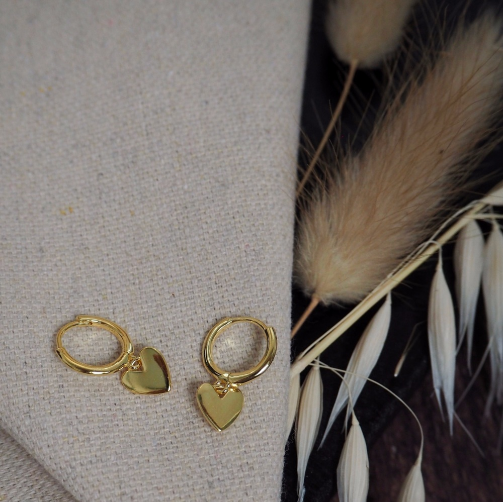 Gold Plated Heart Hoops