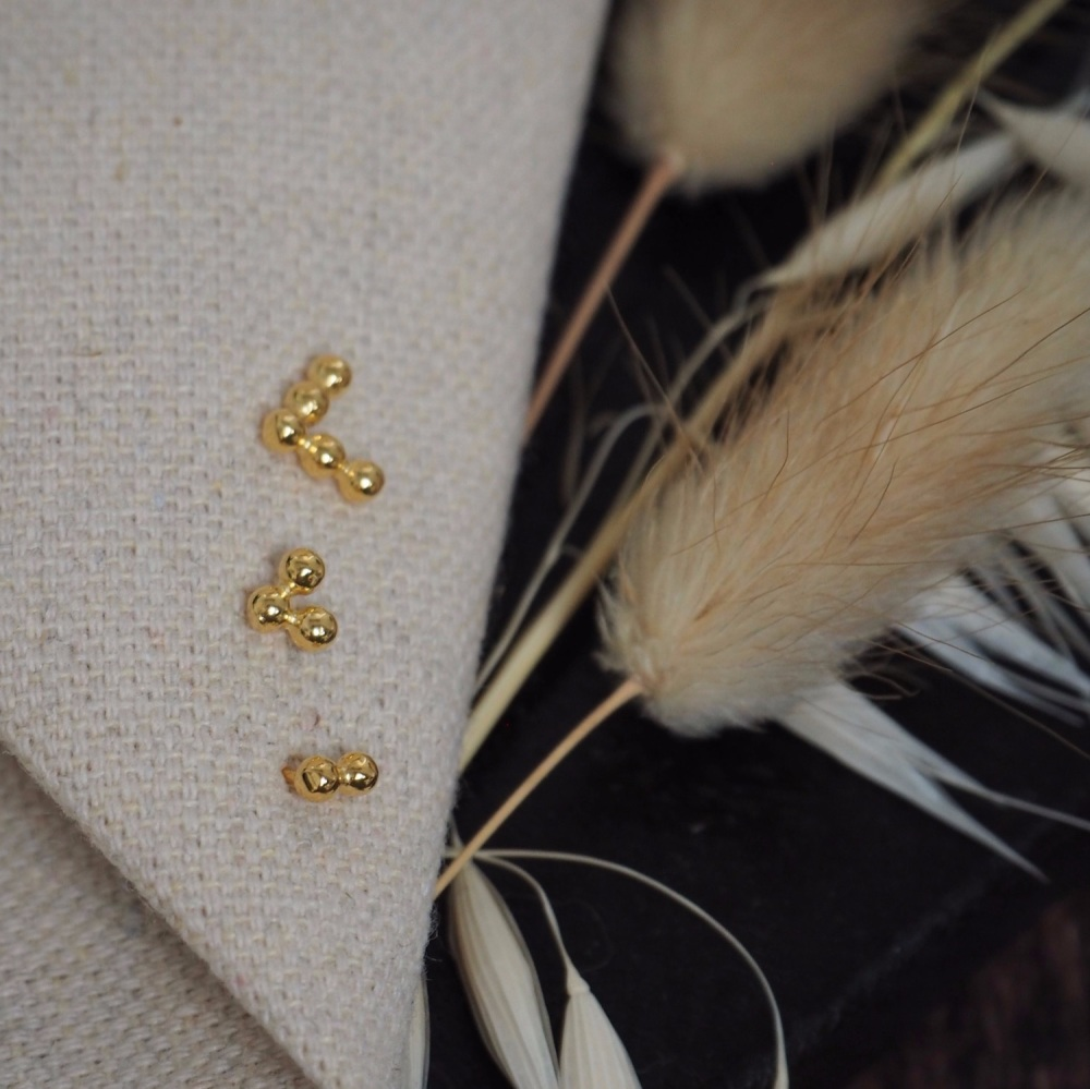 Triple Gold-Plated Dot Studs