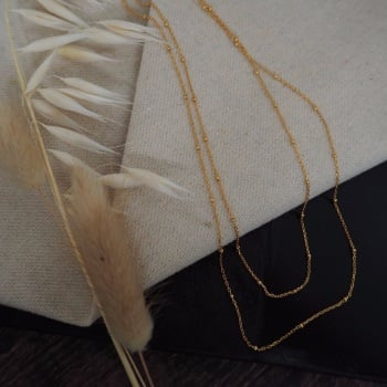 Gold Plated Bobble Chain Layered Necklace