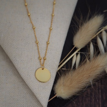 Gold Plated Disc Charm with Bobble Chain