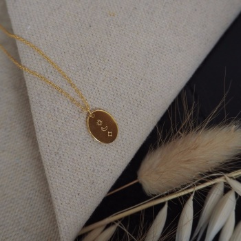 Gold Plated Sun, Moon and Star Oval Charm Necklace