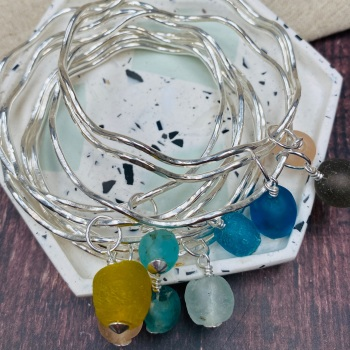 Simple Wave Bangle and Recycled glass beads