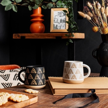 Wax Resist Triangle Mugs