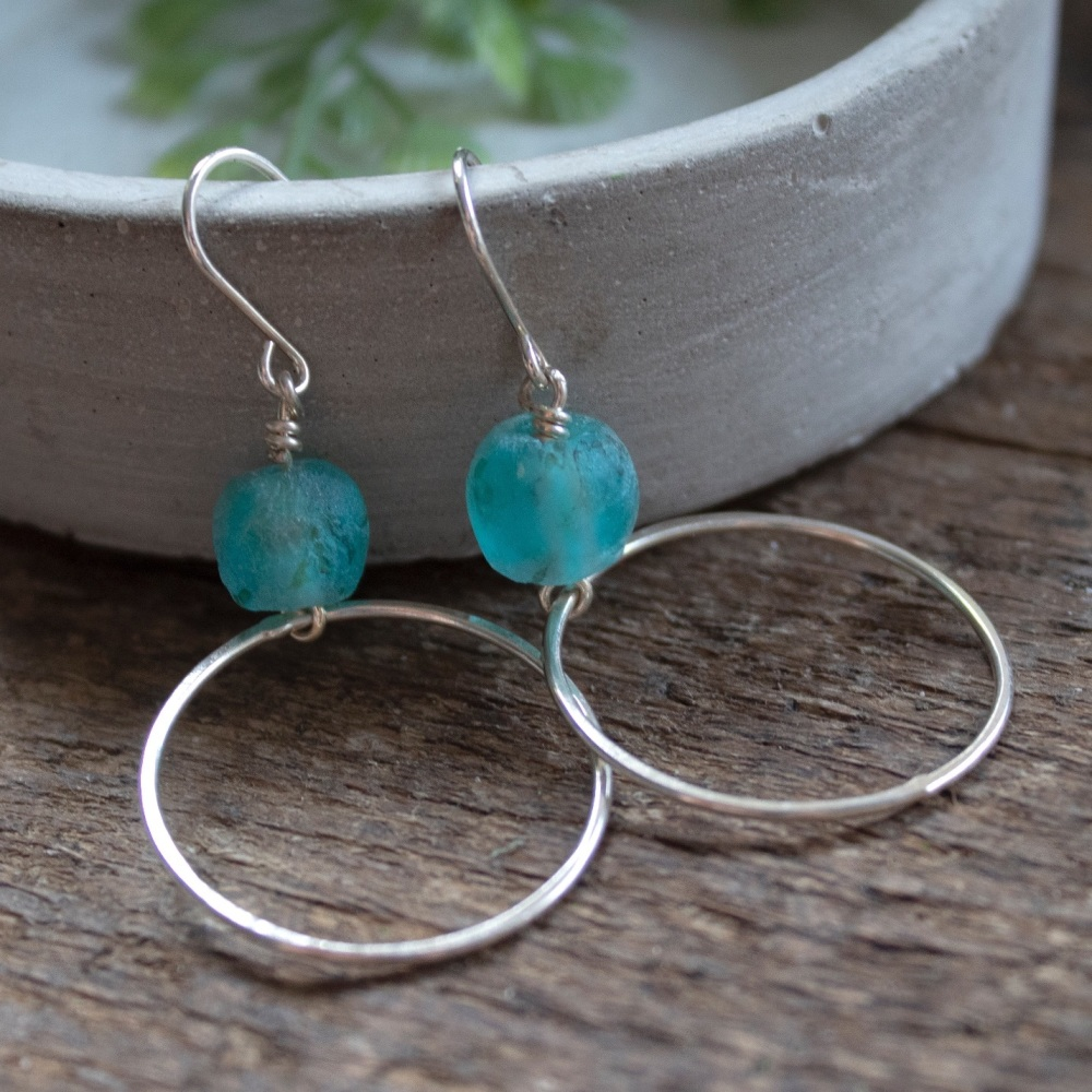Flattened Hoops with Recycled Glass Beads