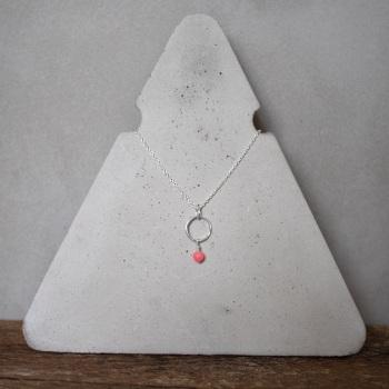Mini Hoop Necklace with Semi-Precious Bead