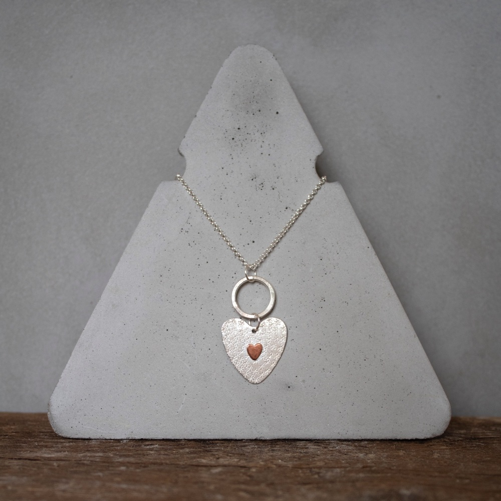 Long Hoop Necklace with Floral Copper Heart Charm