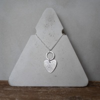Long Hoop Necklace with Heart Charm