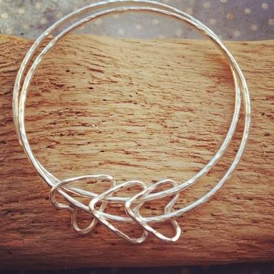 Triple heart double bangle