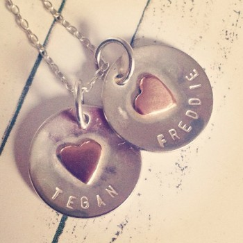 Personalised Copper Heart Disc Necklace