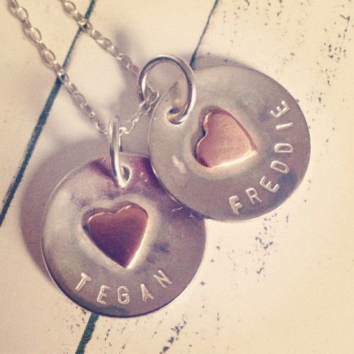 Personalised Disc Necklace with a beautiful simple copper heart