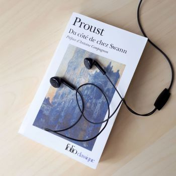 Proust Novel and Headphones