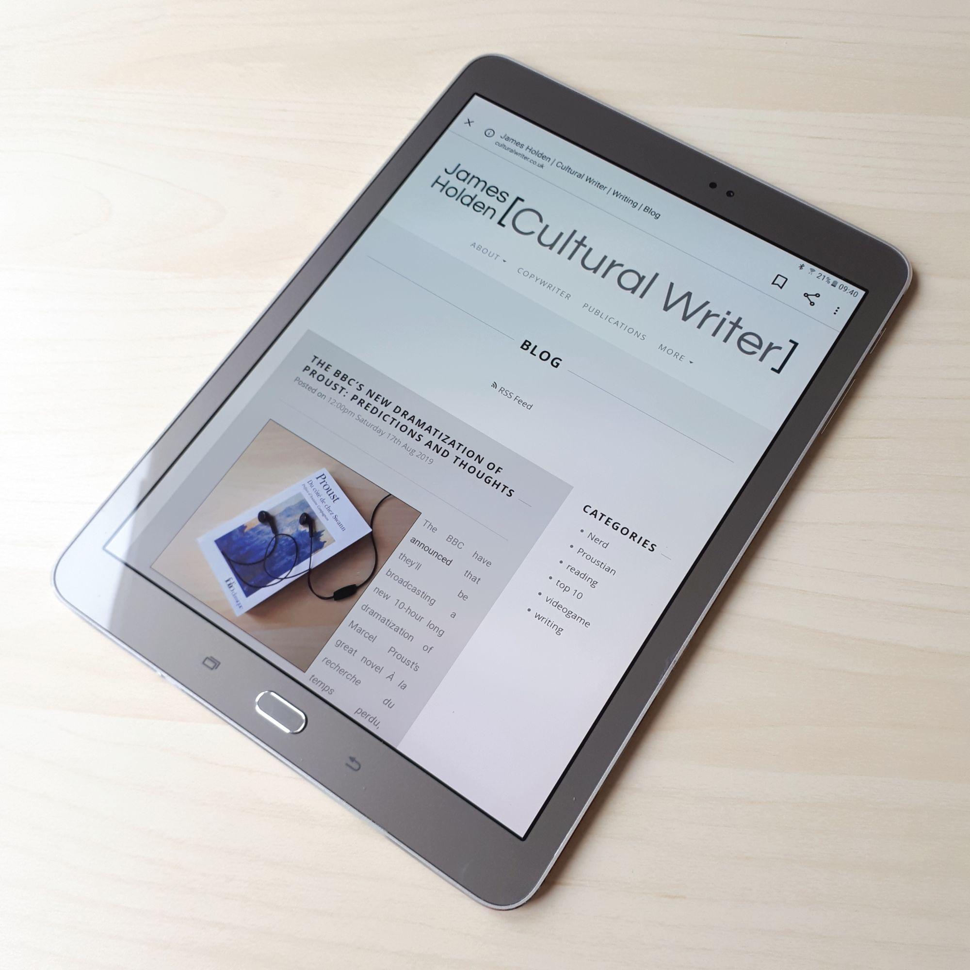 Cultural Writer Blog on Tablet