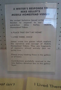 Sign for my texts in Site Gallery