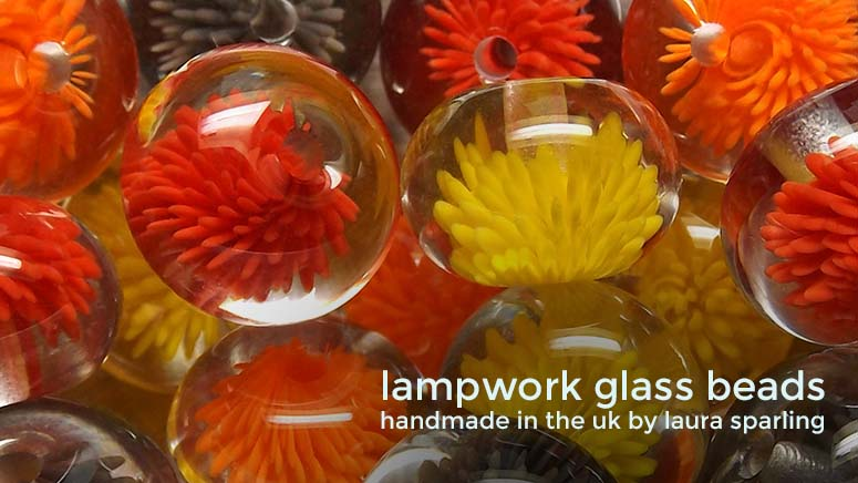 Lampwork glass 'Autumn' Anemone beads by Laura Sparling