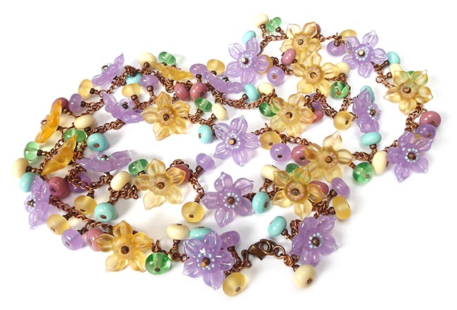 Lampwork glass 'Garland' long necklace by Laura Sparling