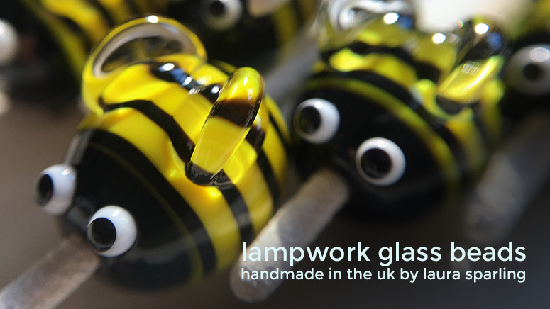 Lampwork glass 'Bumblebeads' by Laura Sparling