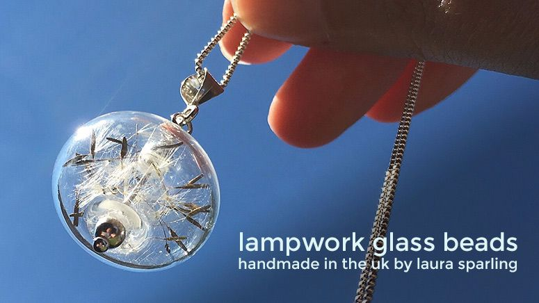 Blown lampwork glass and sterling silver dandelion seed 'Wishful' necklace