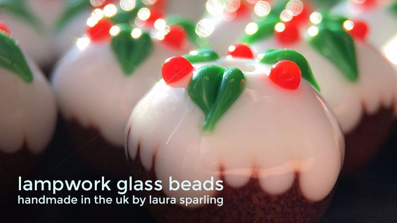 Lampwork glass 'Christmas Pudding' beads by Laura Sparling