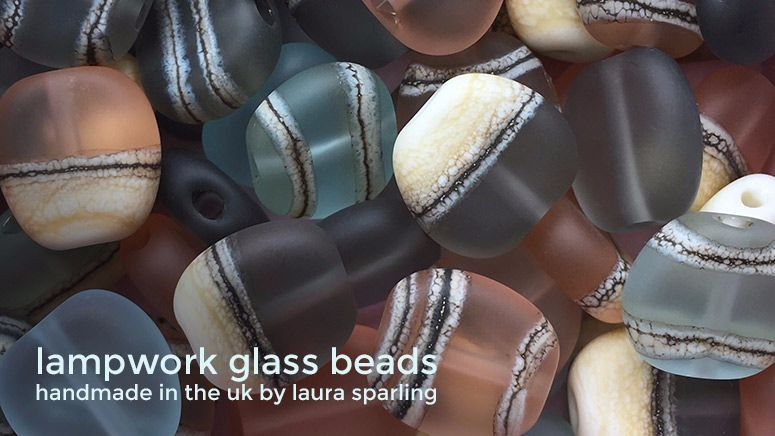 Lampwork glass 'Pebble' beads by Laura Sparling