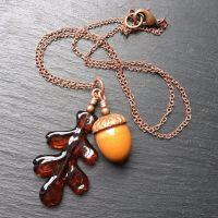 Burnt Caramel 'Acorn & Oak Leaf' Necklace