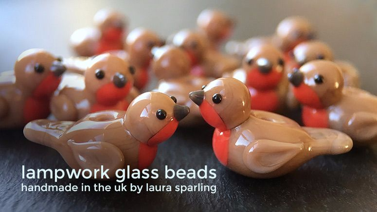 Lampwork glass 'Robin' beads by Laura Sparling