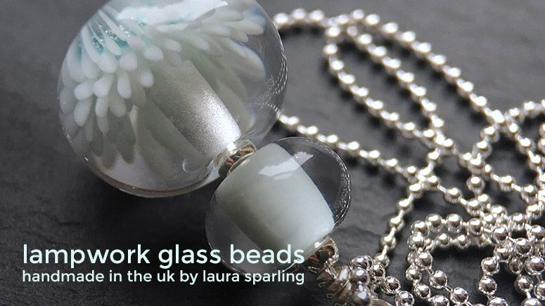 Lampwork glass 'Cloud' Anemone necklace by Laura Sparling