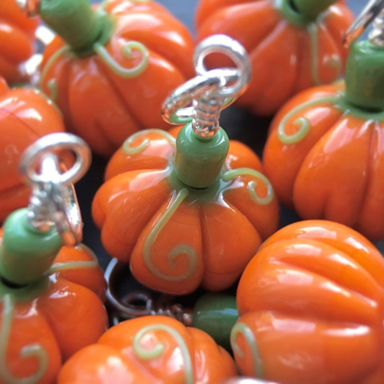 Lampwork glass 'Pumpkin' beads by Laura Sparling