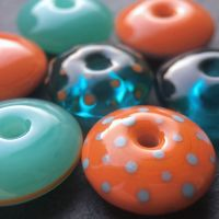 'Teal & Tangerine' Discus Beads