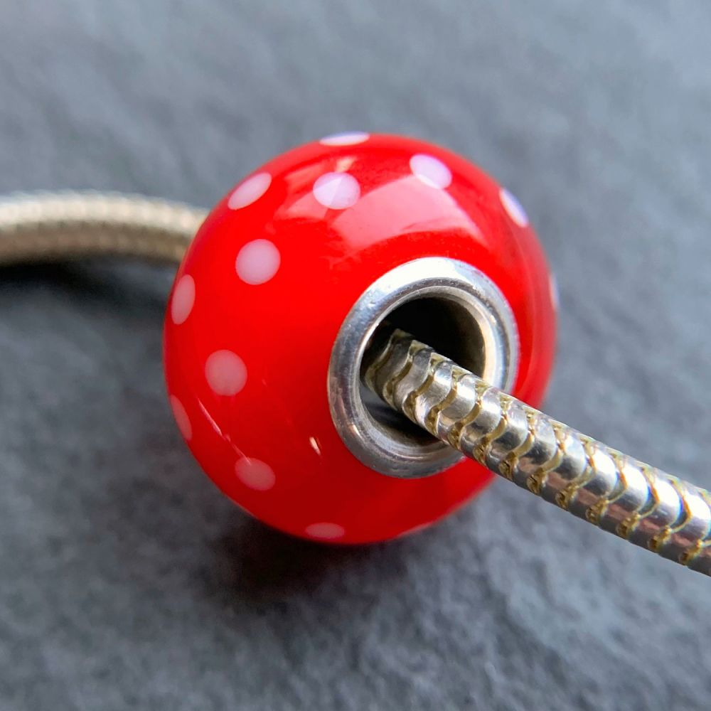 'Strawberry Jelly' Silver Core Bead