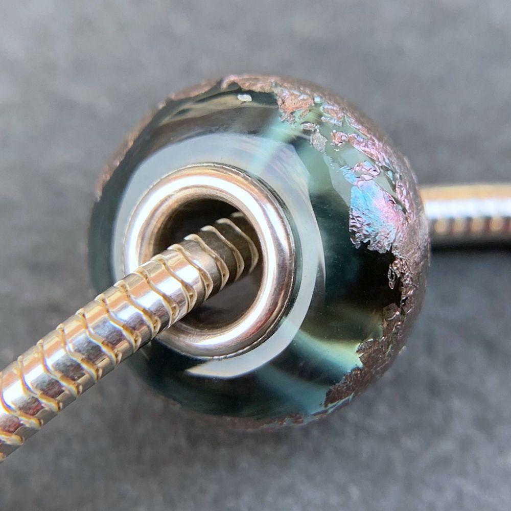 Grey Blue 'Peacock' Silver Core Bead