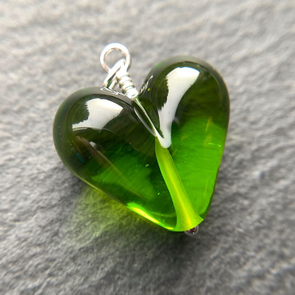 'Lime Jelly' Heart Pendant