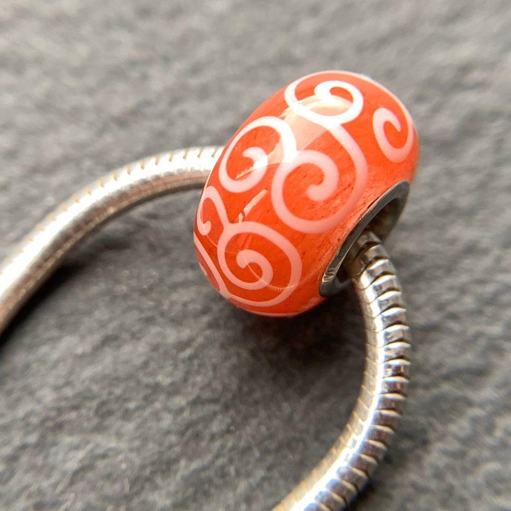'Watermelon' Silver Core Bead