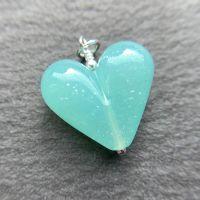 'Sea Glass With Dichro' Heart Pendant