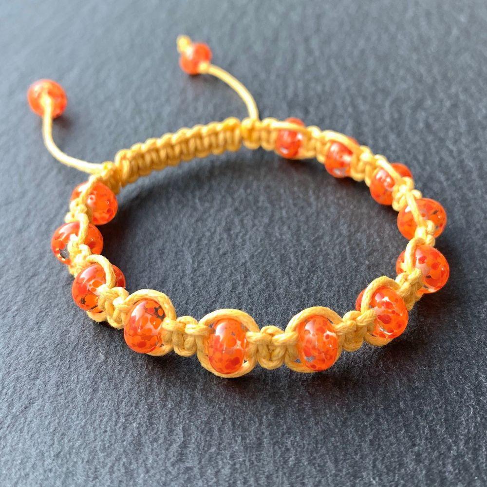 'California Poppy' Macramé Bracelet