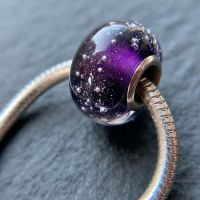 Purple 'Silver Fizz' Silver Core Charm Bead