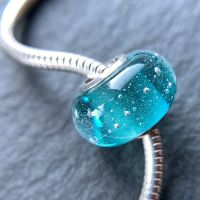 Teal 'Silver Fizz' Silver Core Charm Bead
