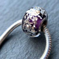 Purple 'Glitz' Silver Core Charm Bead