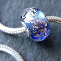 Blue 'Glitz' Silver Core Charm Bead