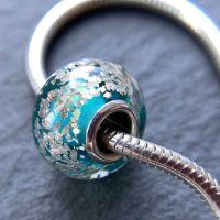 Teal 'Glitz' Silver Core Charm Bead