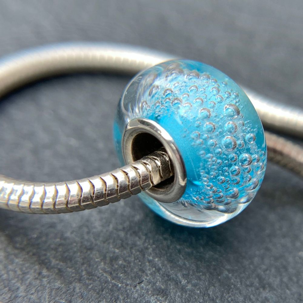 Surf 'Carbonated' Silver Core Charm Bead