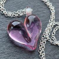 'Lavender Rose' Heart Necklace