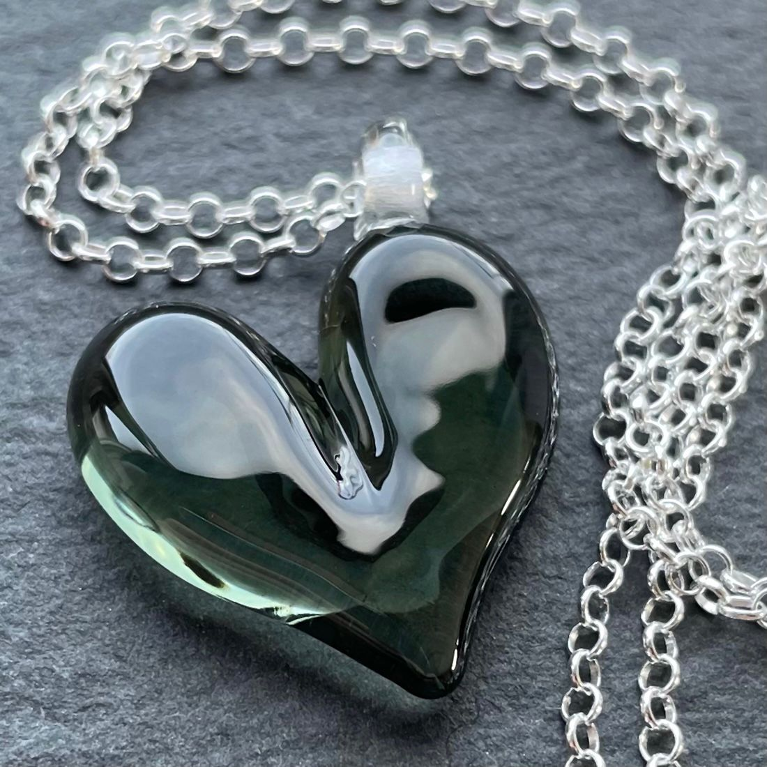 'Pigeon Grey' Heart Necklace