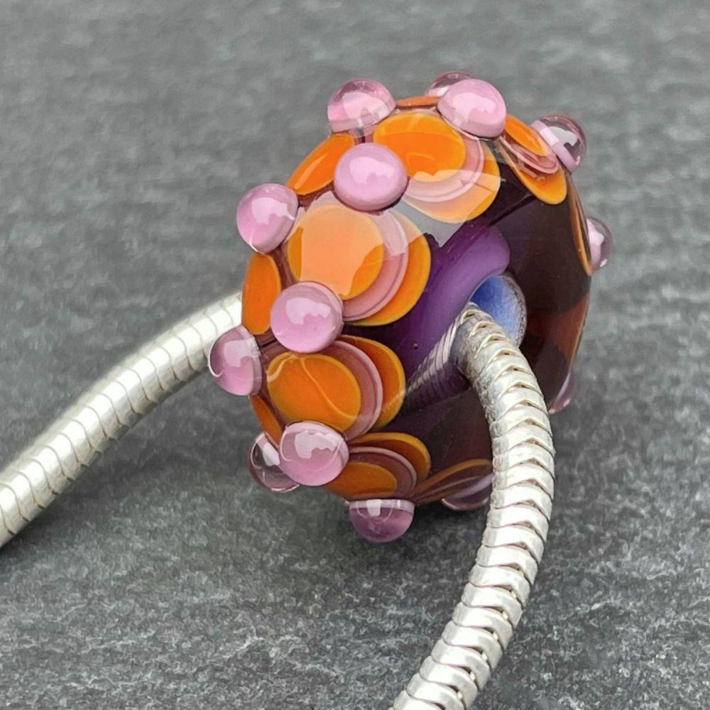 'Orange & Blackcurrant Too' Big Hole Bead