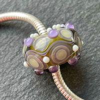 'Green & Lavender Too' Big Hole Bead