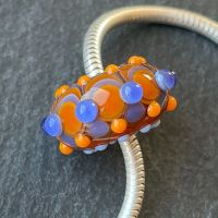 'Orange & Sapphire Too' Big Hole Bead