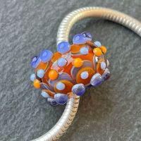 'Orange & Sapphire' Big Hole Bead