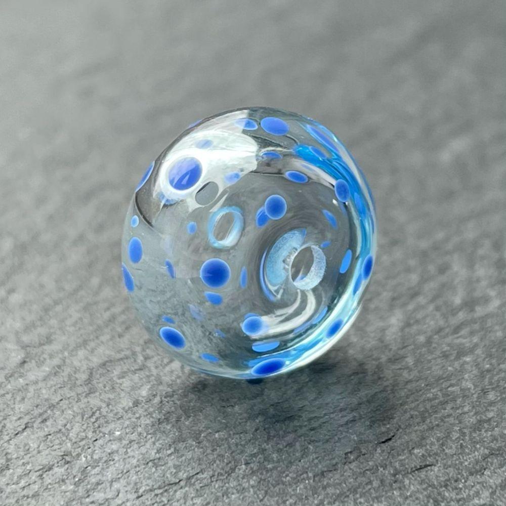 'Blue Spots' Hollow Bead